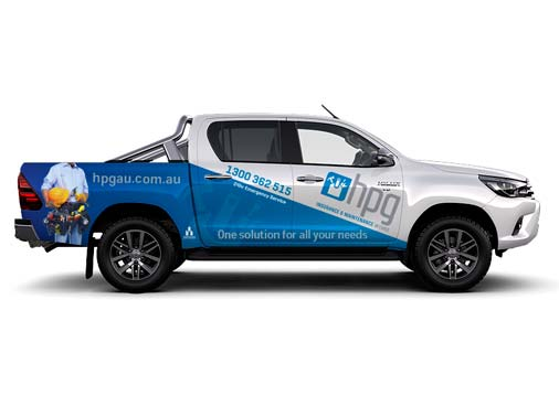 HPG Insurance & Maintenance Works - building insurance repairs image of their Mazda ute covered in their branding.