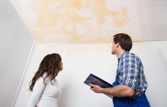 HPG Insurance Works - insurance repairs image of insurance assessor assessing water damage with home owner.