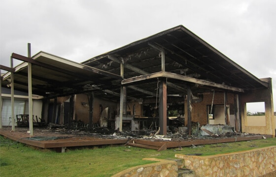 HPG Insurance & Maintenance Work complex claims major loss image of residential home burnt down