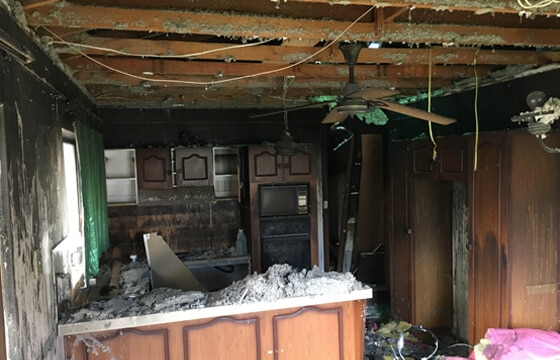 HPG Insurance & Maintenance Work complex claims major loss image of residential kitchen after a fire